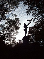The Falconer Statue by silhouette
