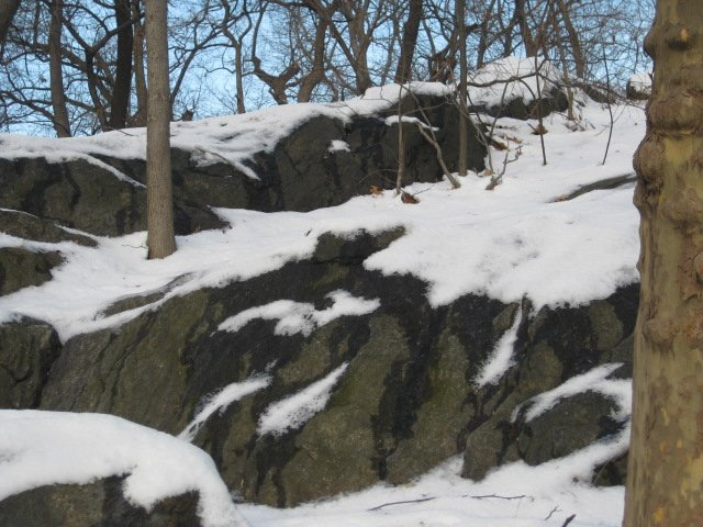 rocks with snow