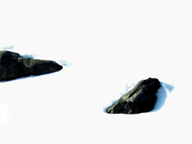 Lake Rocks in Snow