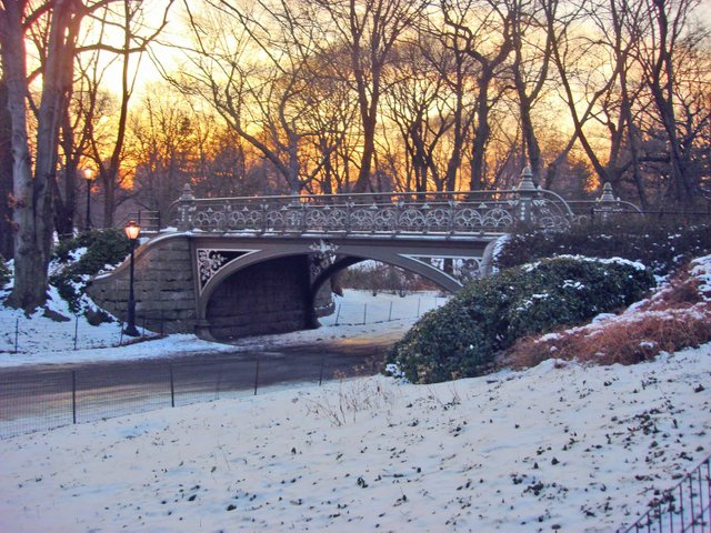 Central Park Bridge at Sunset.