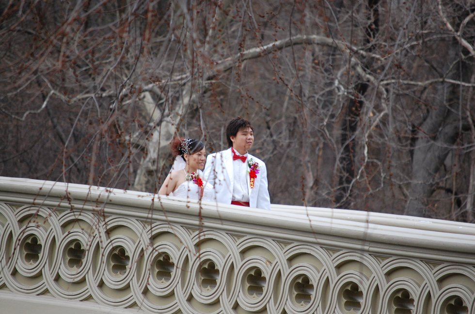 Bride and Groom on the Bow Bridge