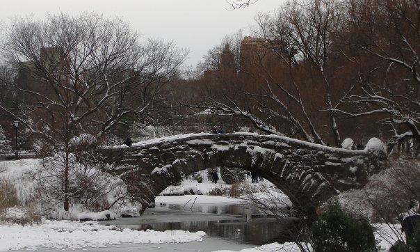 Snow-laced Gapstow Bridge