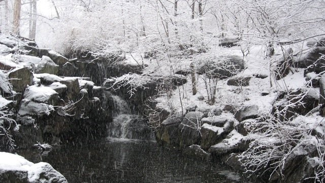 Water Fall with Snow.