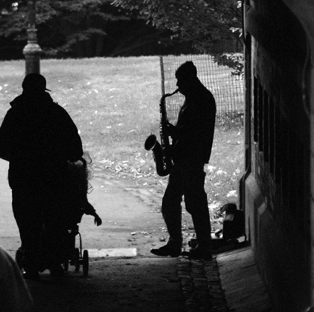 Black and white horn man
