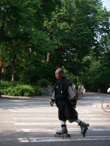 Monk on roller blade