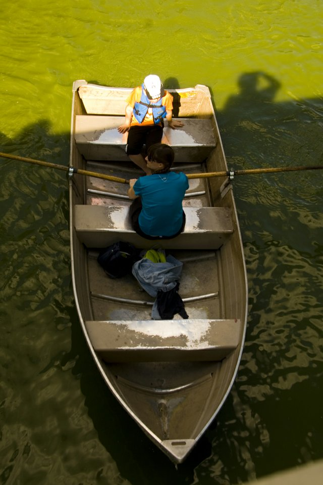 Mom and son on a Central park boat