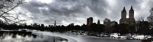 Central Park Lake Winter Panorama
