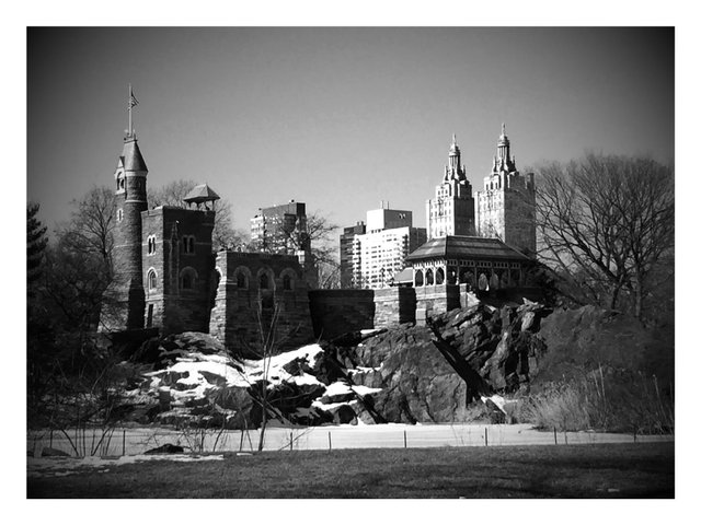 black and white Belvedere castle
