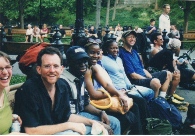 group of skaters resting in central park