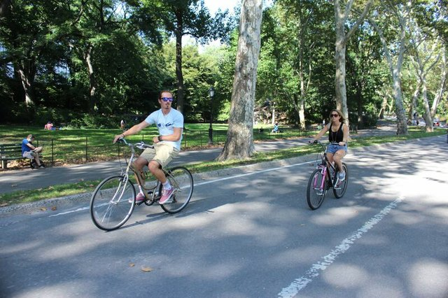 Riding bikes in central park.JPG