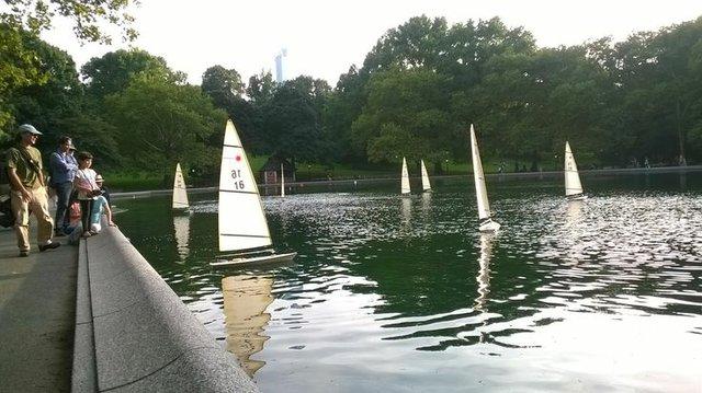 Model boat sailing
